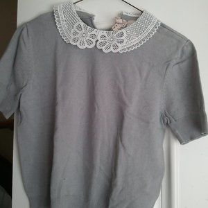 H&M Lace Collar stretch knit top XS